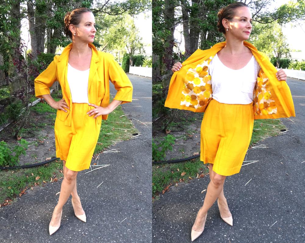 Yellow Shantung silk skirt with matching jacket