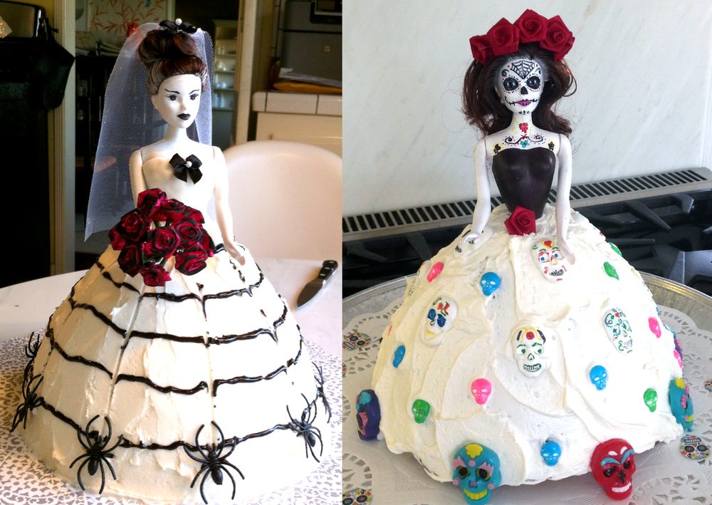 Bride of Frankenstein & Dia de la Muerta cakes for my daughter's school Fundraiser