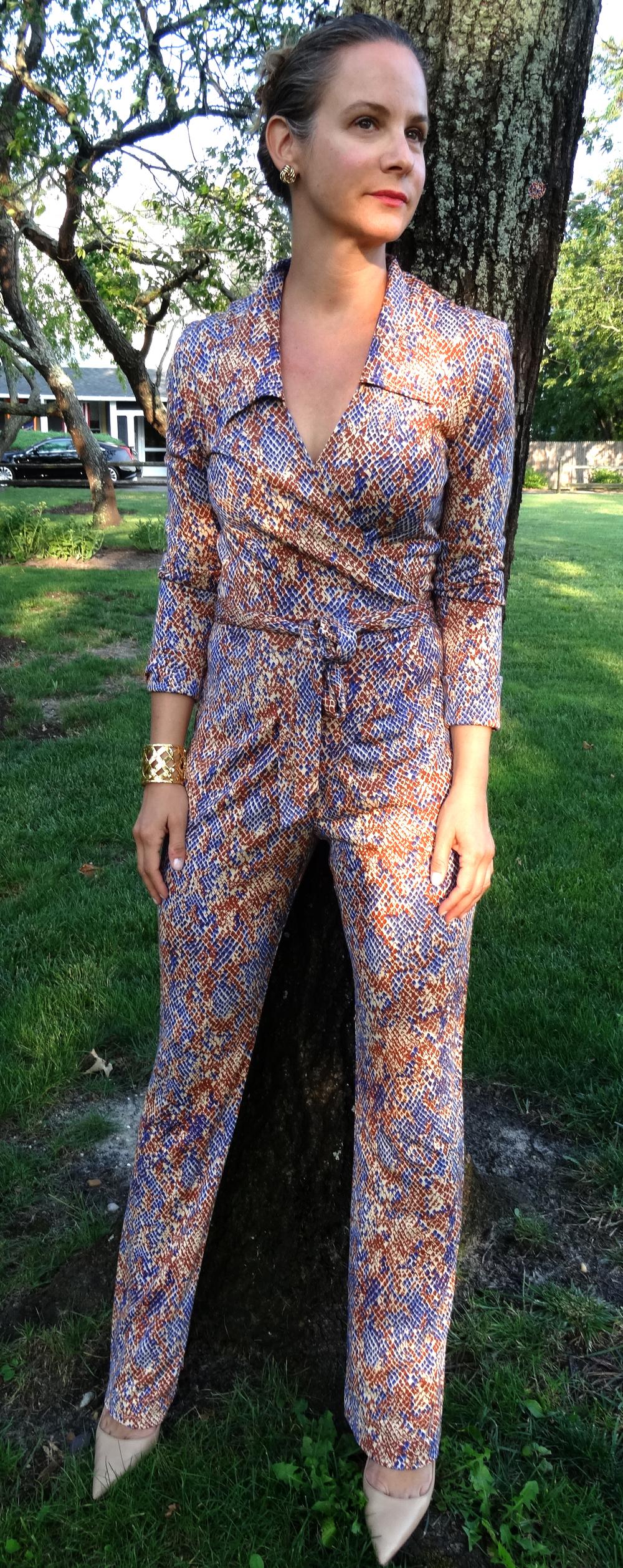 Vintage Diane Von Furstenberg snake print jumpsuit.