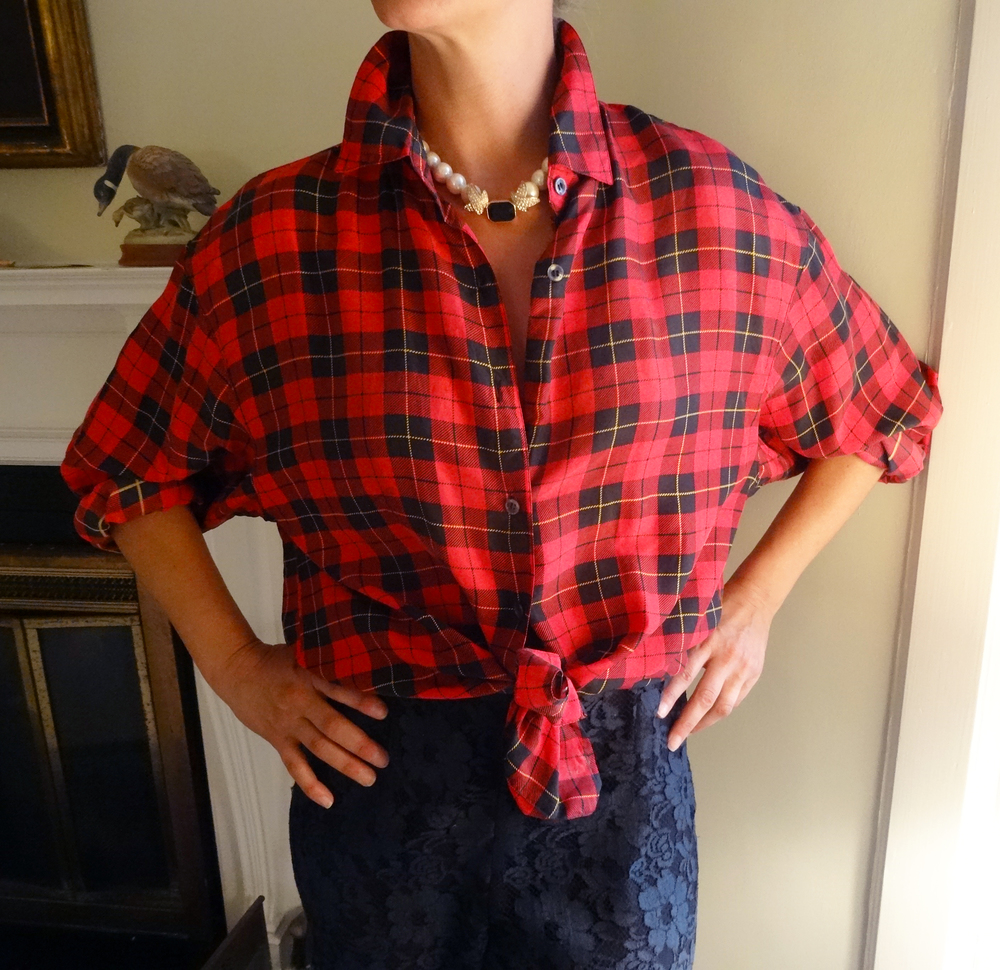 Red & black silk plaid evening blouse, with black lace pants.