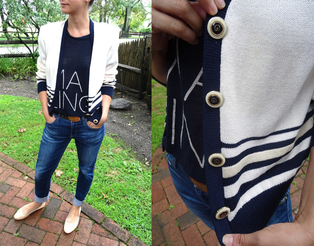 Navy & White St. John Cardigan