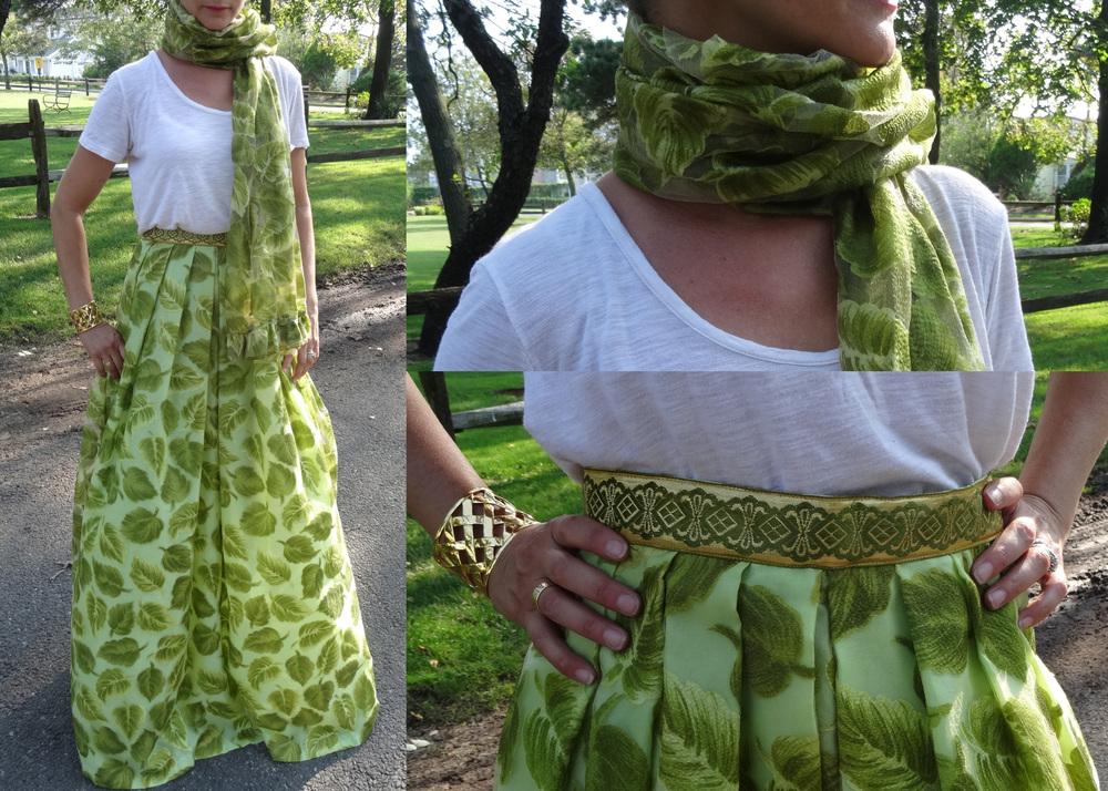 Silk Embroidered Leaf Pattern Maxi Skirt