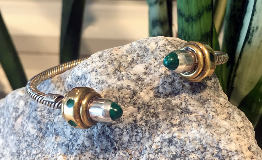 Mom's Silver, Brass & Malachite Cuff