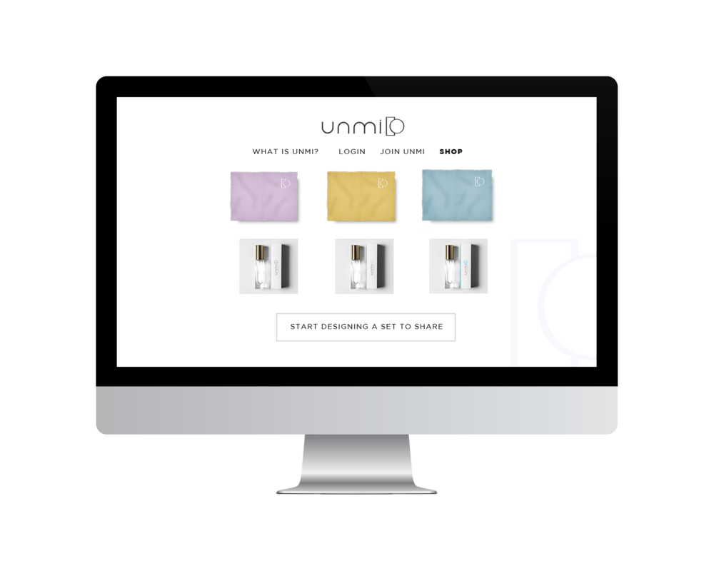 Unmi shopping landing page showcases examples of blanket designs and shows the customer the product.