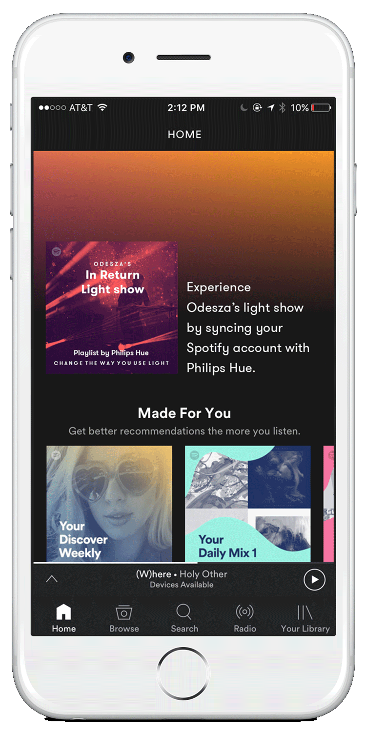 The Philips Hue Light Show playlist on the home screen the week-of launch.