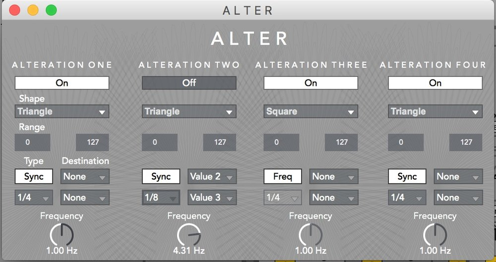 A L T E R  provides four LFO sources with the ability to assign to multiple destinations as well as mix waveforms for complex modulation.