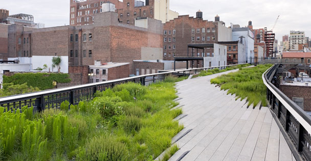 The Highline Formerly an underutilized elevated railway in a state of disrepair, it was converted (with the help of local community advocacy) into one of the most vibrant public spaces in Manhattan.