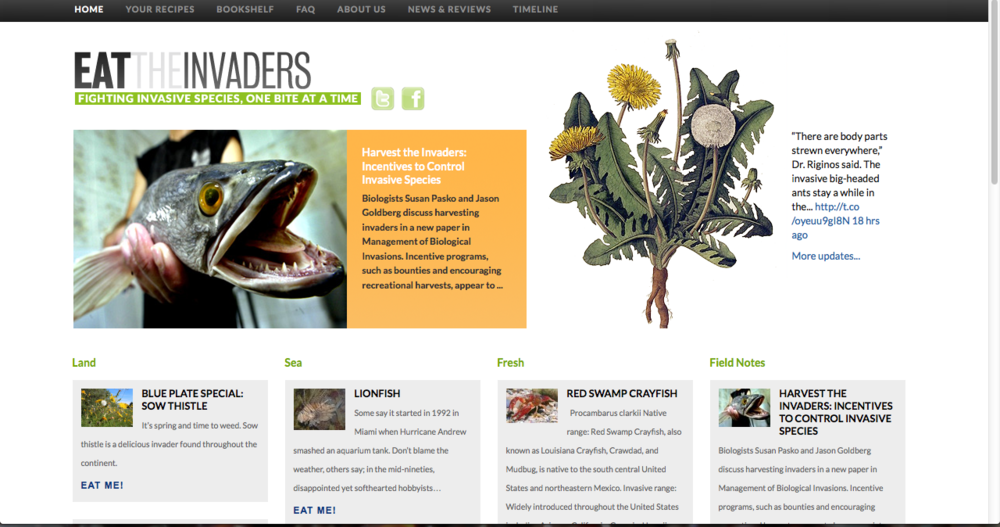 Eat The Invaders   An online resource dedicated to empowering curious foodies to seek, collect and prepare weeds and other invasive species.