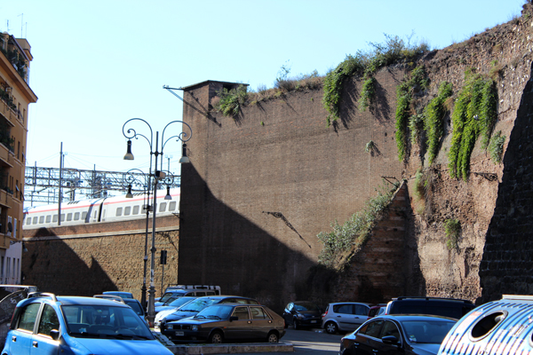 The Aurelian Wall built between 271 AD and 275 AD is still intricately woven within the fabric of Rome. Many areas of the wall have been colonized by opportunistic plants such as the ones you see here.  These are actually edible capers (Capparis Spinoza).
