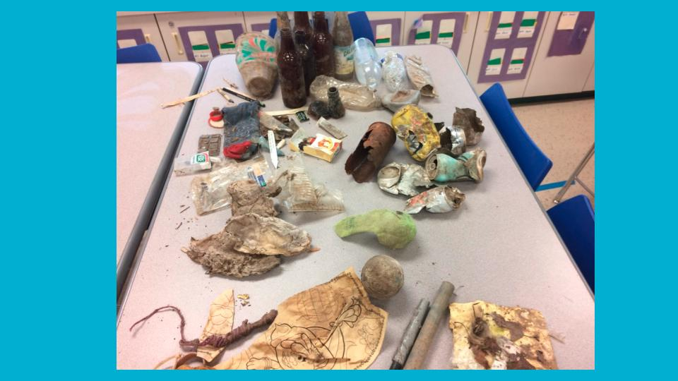 During our trips into the creek we were disappointed to see that people had left behind litter. We examined the garbage, categorized the types, and created a line plot to show what was found. We installed a garbage for visitors to use.