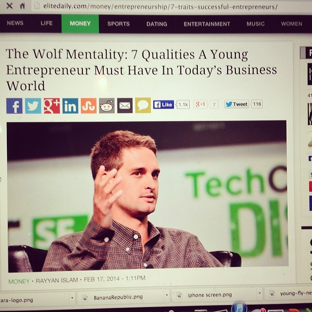 "Just got published on @elitedaily! Thanks guys! Check my new article: ""The Wolf Mentality: 7 Qualities a Young Entrepreneur Must Have In Today's Business World"" http://is.gd/96n17i #startup #entrepreneur #venturecapitalist"