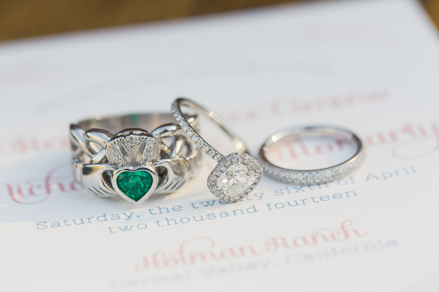 Wedding Rings and Invitation; the groom's Claddagh Ring inspired the Save the Date design.   Photo by Carlie Statsky.