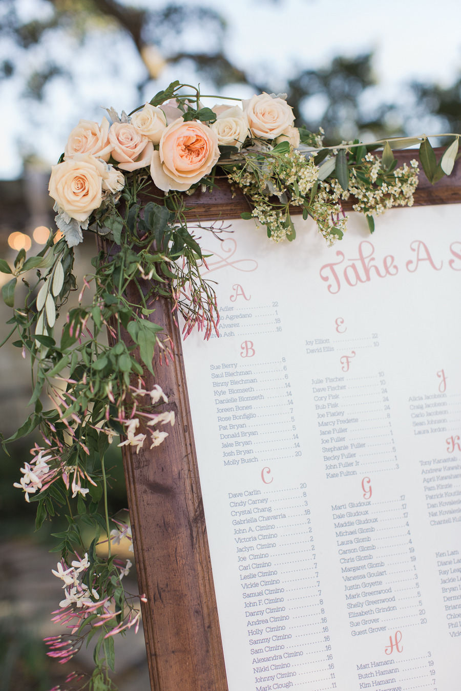 Detail of the Seating Chart we created for the wedding.   Photo by Carlie Statsky.
