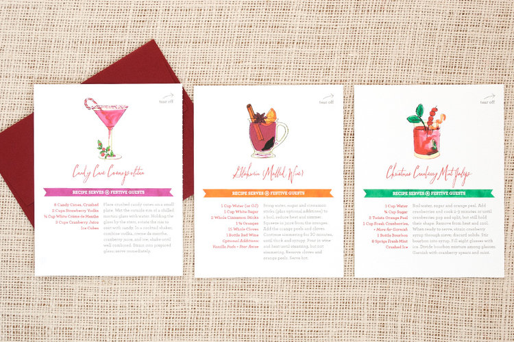 Holiday Cocktail Recipe Cards  Three Little Words