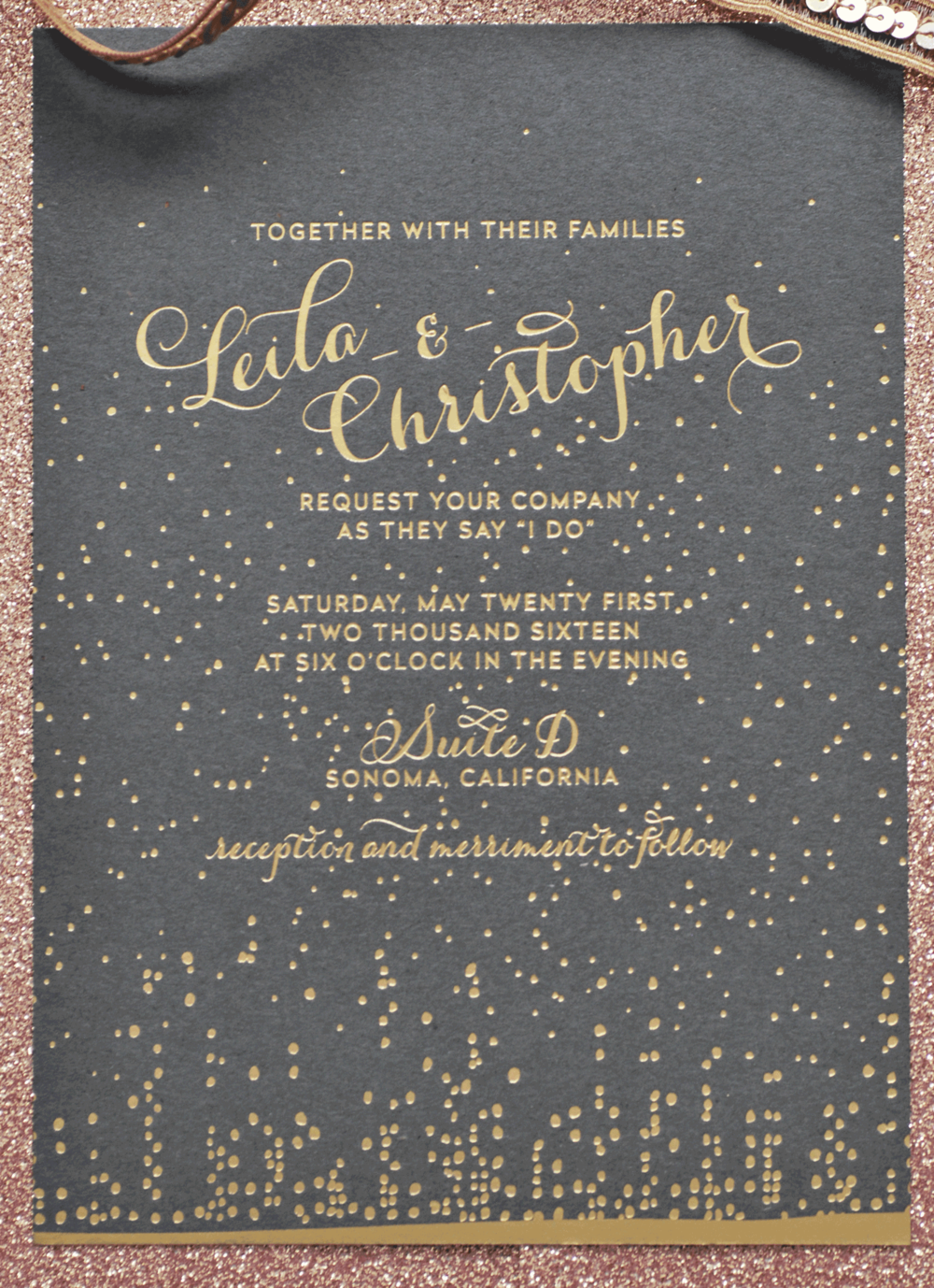 Matte Gold Foil Embossed Wedding Invitation