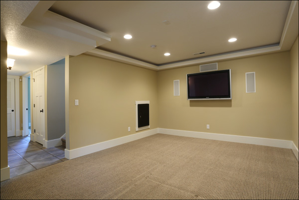 Family/media room with upgrade home theater system and plasma tv