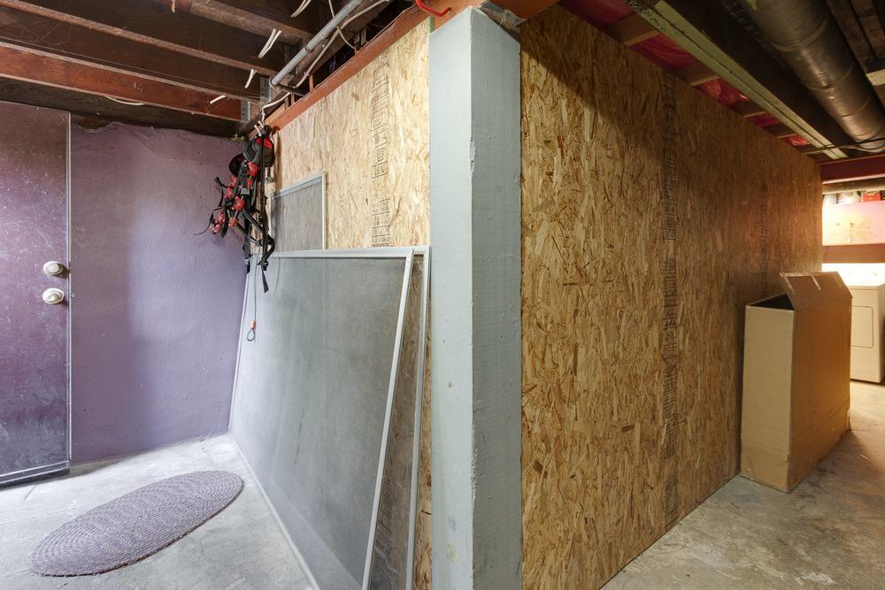 basement entrance and hallway