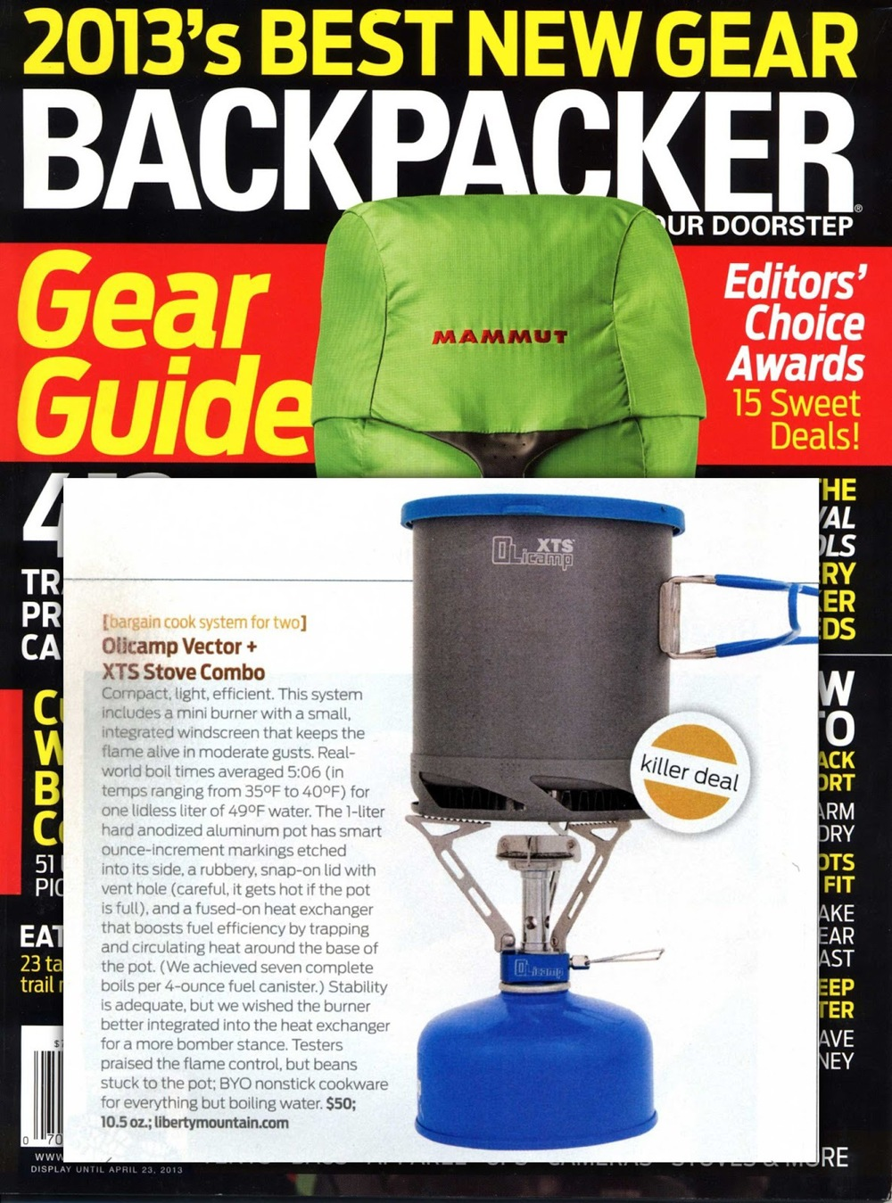 Vector Stove and XTS Pot featured in Backpacker Magazine's 2013 Gear Guide.