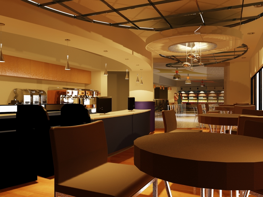 3D Rendering of Coffee Shop
