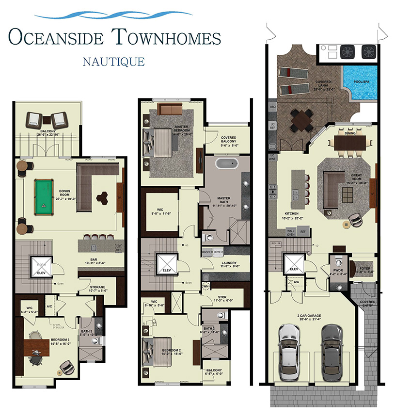Oceanside townhomes yates associates architecture inc for Three story townhouse floor plans