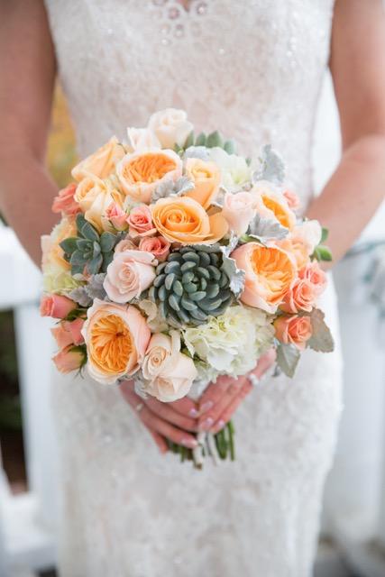 peach bridal bouquet with juliet garden rose, succulents, dusty miller, peach avalanch rose, ilse spray rose.jpg