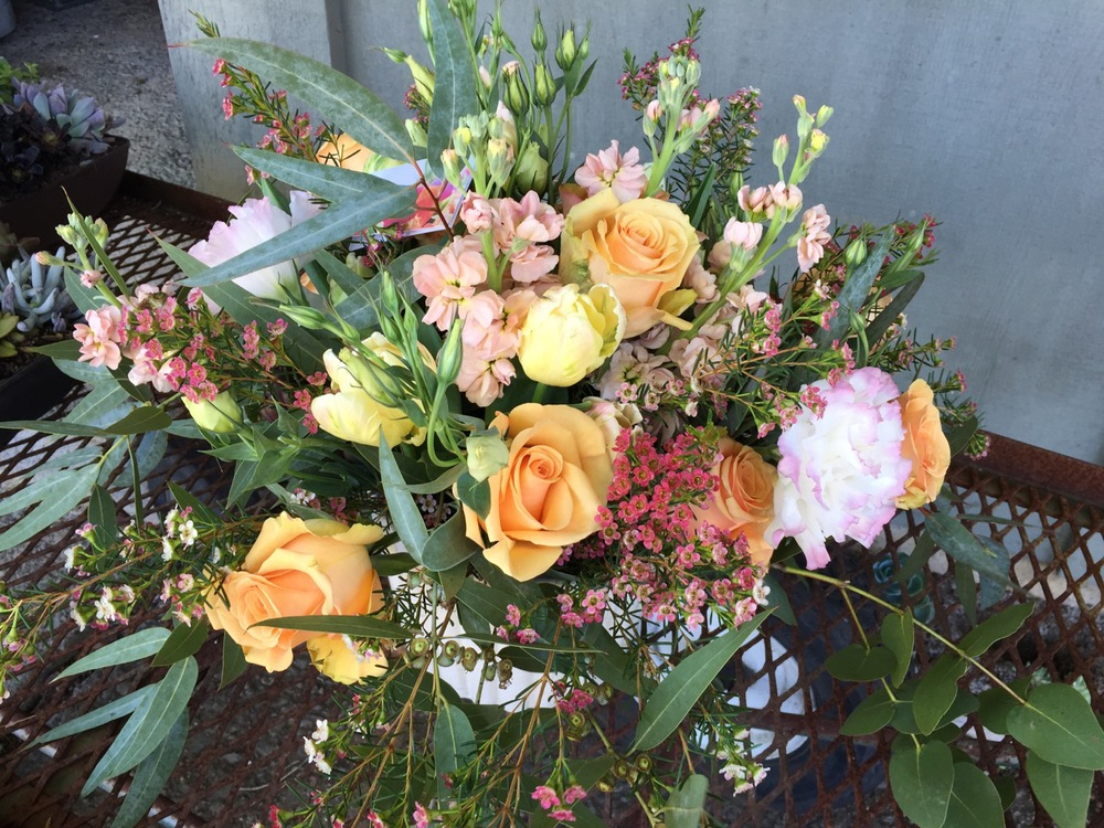 Peach Mothers Day Arrangment Arcata Florist.jpg