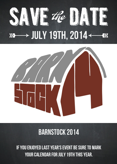 By all accounts last year's BarnStock was a success. The stars of last year's event - White Space - will be headlining. Opening for White Space, will be the Big Sky Trio and YOU! Yes - YOU. There will be more details coming in a future invite. This message is simply to get on your calendar and to prompt you to start practicing. Remember, most of the day is made up of Open Mic and this year there's no reason that you can't be playing.         In May you'll be getting a more detailed invitation with exact times, location, an RSVP request and a chance for you to register your band or solo performance.