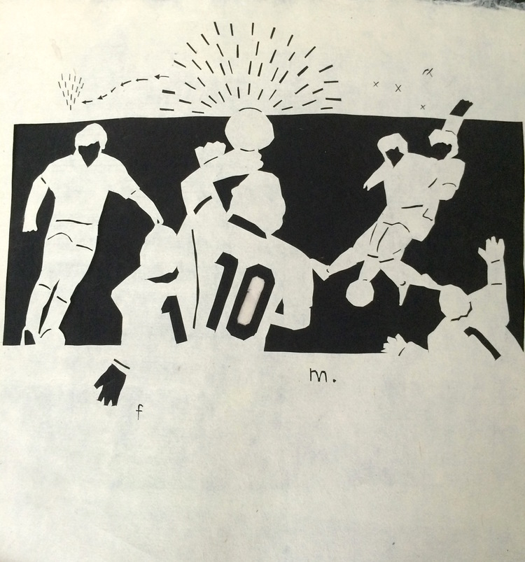 MARADONA 1986. Cut paper, 2015, 8x14 inches.