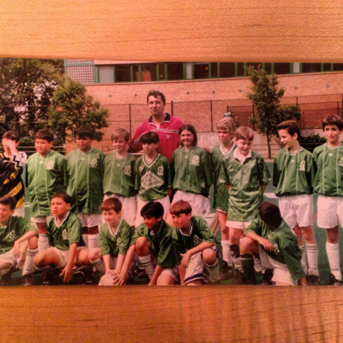 Megan, age 9, with her all boys soccer team, the Green Wave, at the Asphalt Green, NYC.