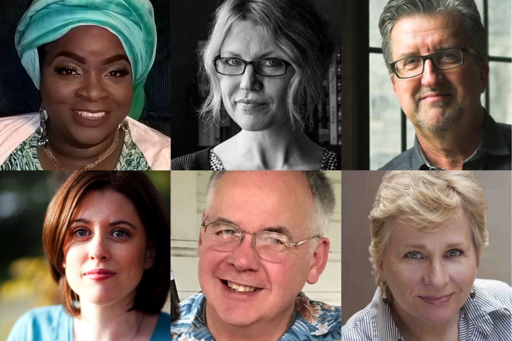 2017 RNPF Playwrights  (From top left: Mahasin D. Shamsid-Deen, Rachel León, Dave Carley, Stacey Isom Campbell, William Daer, Donna Kaz. Not pictured: Ryann Robertson)