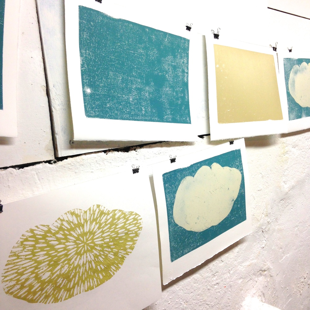 The first step: block prints from foam core hanging to dry in my studio...