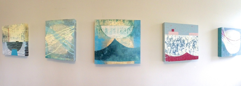 pieces from L-R: embark, contrails, wave, float and orbits.