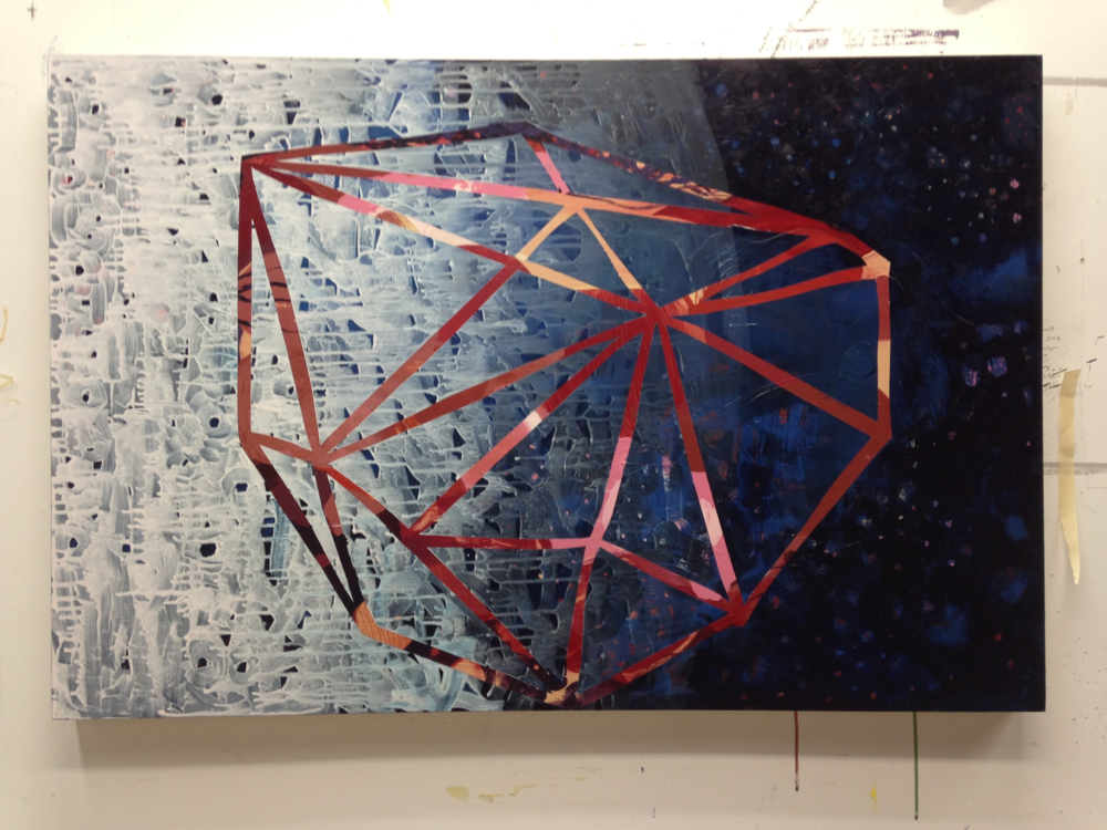 Work in progress, acrylic on birch panel, 42 x 28 inches