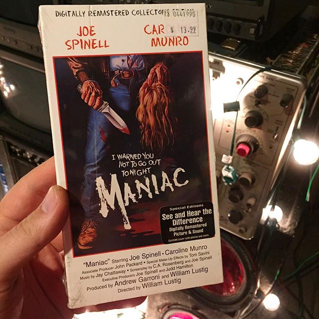 #CarolineMunro 69 years young. Don't go out tonight. #maniac 📼📼📼 . . . . #portland #portlandmaine #maine #207 #madeinmaine #buylocal #madeinnewengland #boston #providence #newengland #newyork #videoproduction #crashboombangmedia  #teamboombang #creativeagency #vhs #vintage #tape #analog #musicvideo #horror