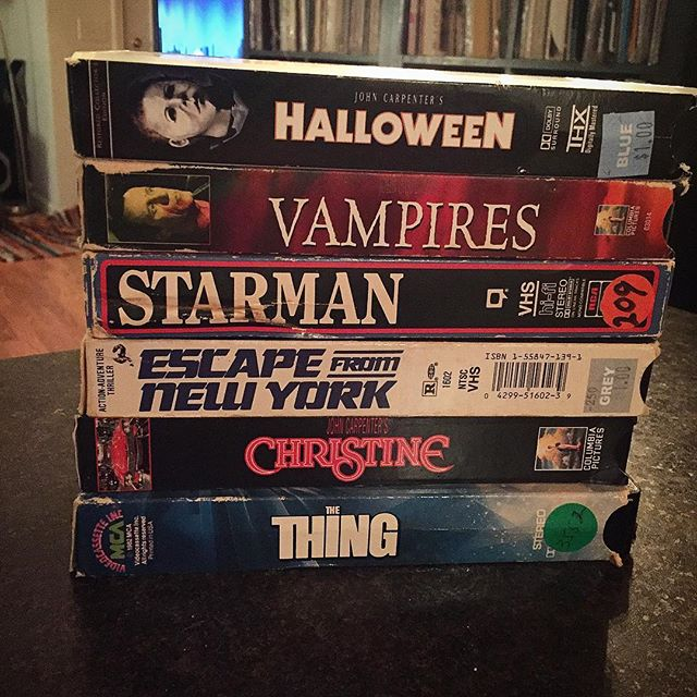 Kicking it with 70 years of @johncarpenterofficial 📼📼 . . . . #portland #portlandmaine #maine #207 #madeinmaine #buylocal #madeinnewengland #boston #providence #newengland #newyork #videoproduction #crashboombangmedia  #teamboombang #creativeagency #vhs #vintage #johncarpenter #thething #starman #christine #escapefromnewyork #halloween