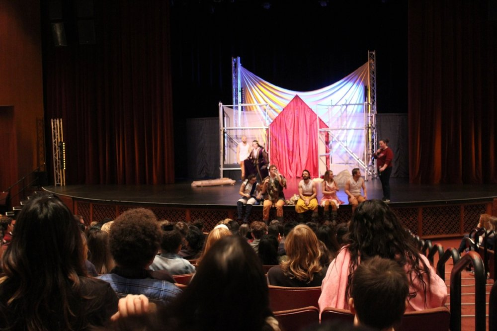 After the play, actors answer questions from students. Popular topics include how to become an actor, what it takes to memorize all the lines, and the importance of hard work to be successful.