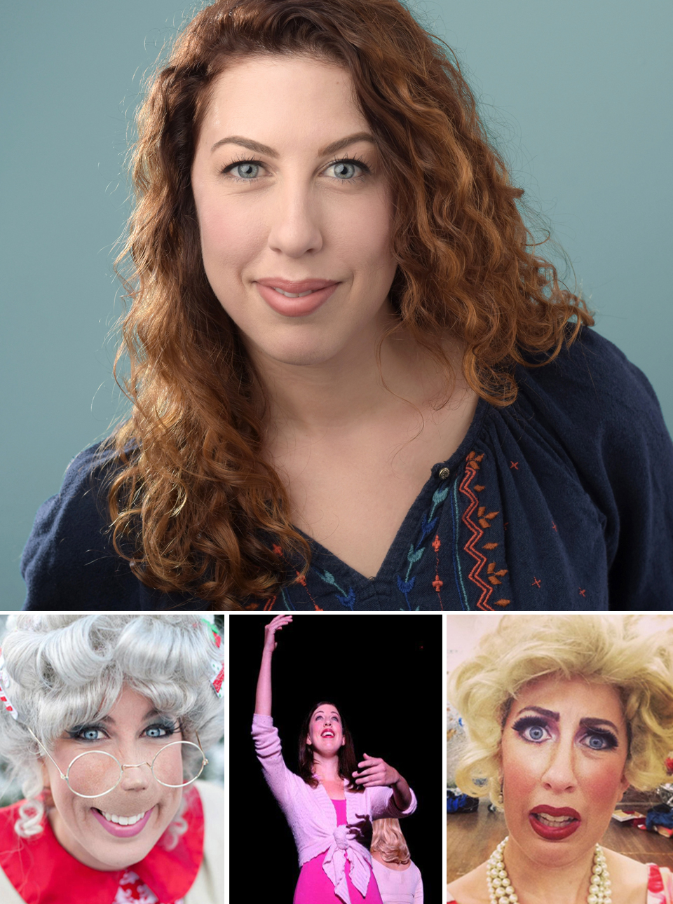 Clockwise From Top:   Anne!, Velma Von Tussle  (Hairspray) , Maggie Winslow  (A Chorus Line) , Gussie Godiva  (Grinchmas,  Photo Credit:  Isaac James  ) ,