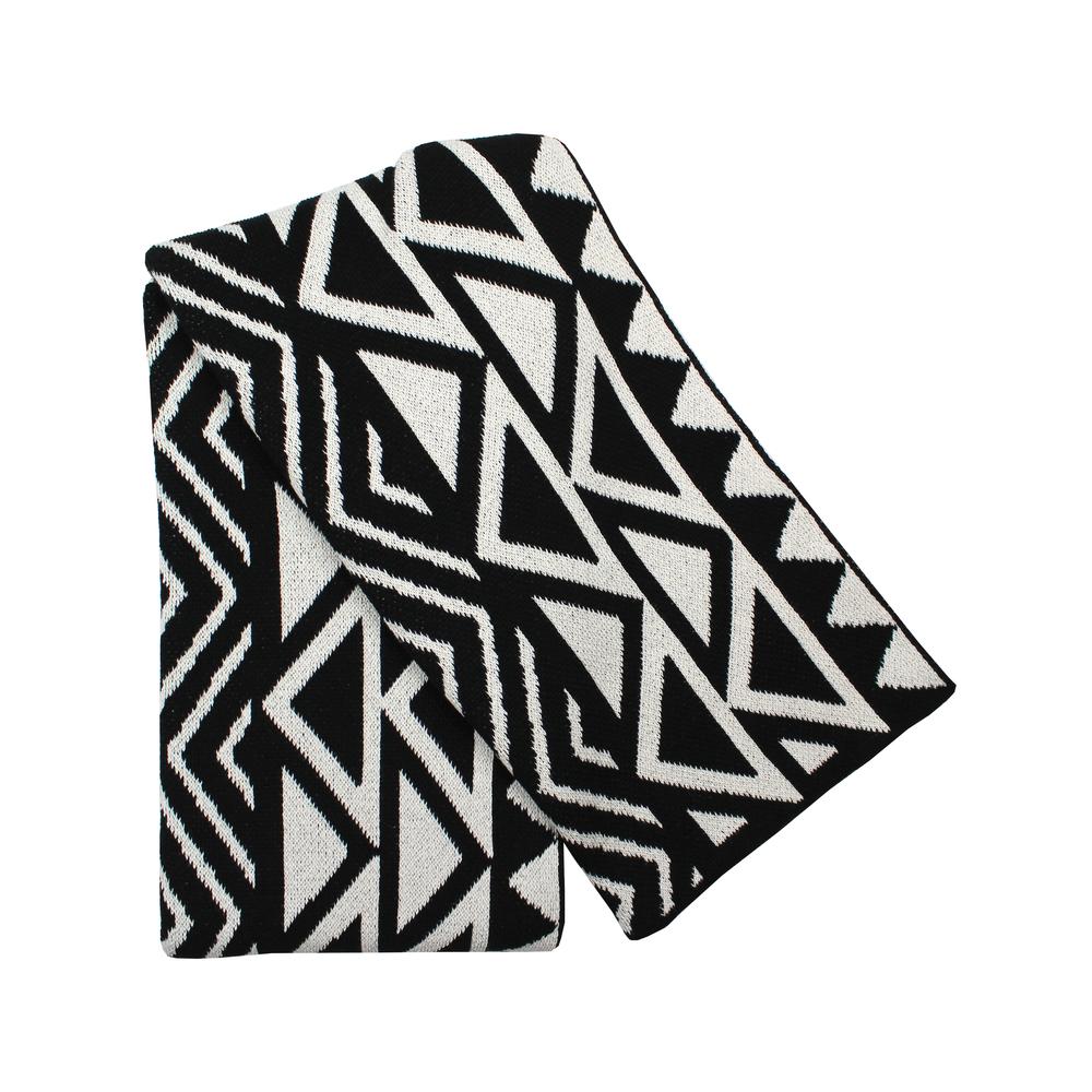 the dean black ivory tribal print throw blanket