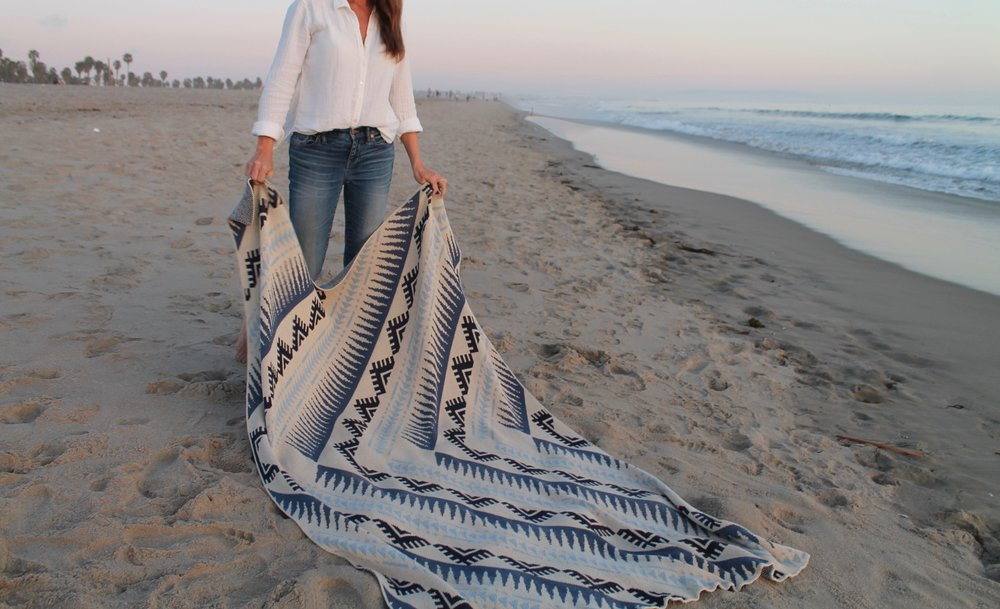 patterned cotton beach blanket