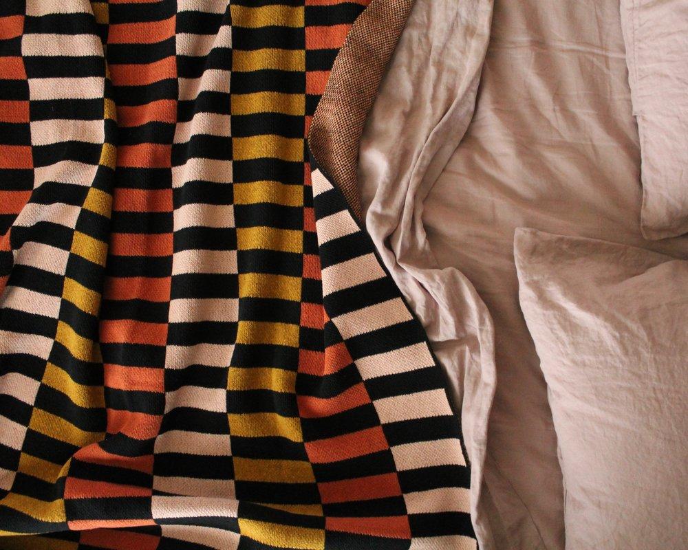 modern stripe cotton throw
