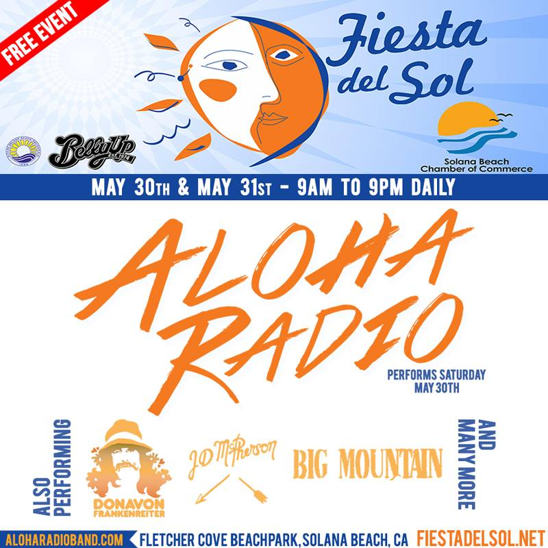 L from Aloha Radio talks new music, album artwork and upcoming performance at Fiesta Del Sol in Solana Beach, CA with Donovan Frankenreiter, JD McPherson, Big Mountain, Giant Panda Guerrilla Dub Squad, Wheeland Brothers and more on Saturday, May 30th 2015.