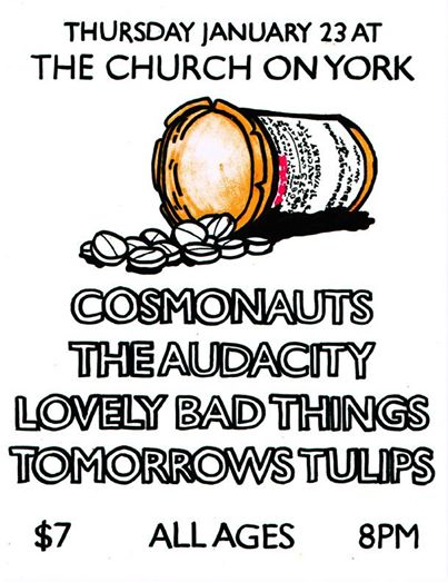 Some of our favorite bands from Orange County are playing at a really cool church-turned-venue in Highland Park! We'll all be here after our secret show.  Thursday, January 23rd 8pm at The Church on York / 4904 York Blvd. LA 90042 / $7 / All Ages
