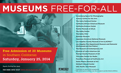 FREE admission at 20 museums in Southern California including LACMA, Museum of Latin American Art, the Annenberg Space for Photography, and many others  Saturday, January 25th / more info here:  http://socalmuseums.org/news.asp