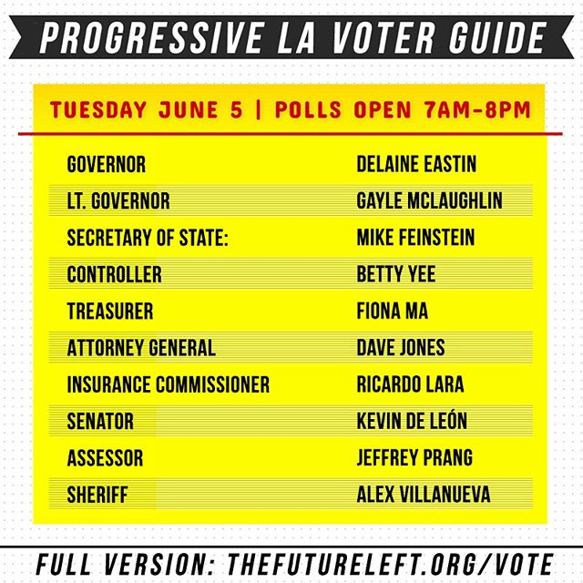 LA: Made a progressive voter guide w/ @thefutureleft for the election this TUESDAY JUNE 5TH please make sure you vote! Go to futureleft.org/vote for the full version and Lavote.net to find your polling place