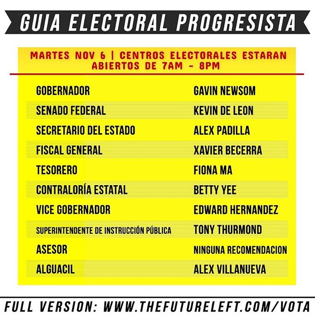 Here is a Spanish version of the Future Left x Honey Power progressive voter guide.  Full version with all the information is in the link in bio. Thanks @crispyhexagons1 @itslaurafrances @lafraudakahlo @antenaantena for translating for us!