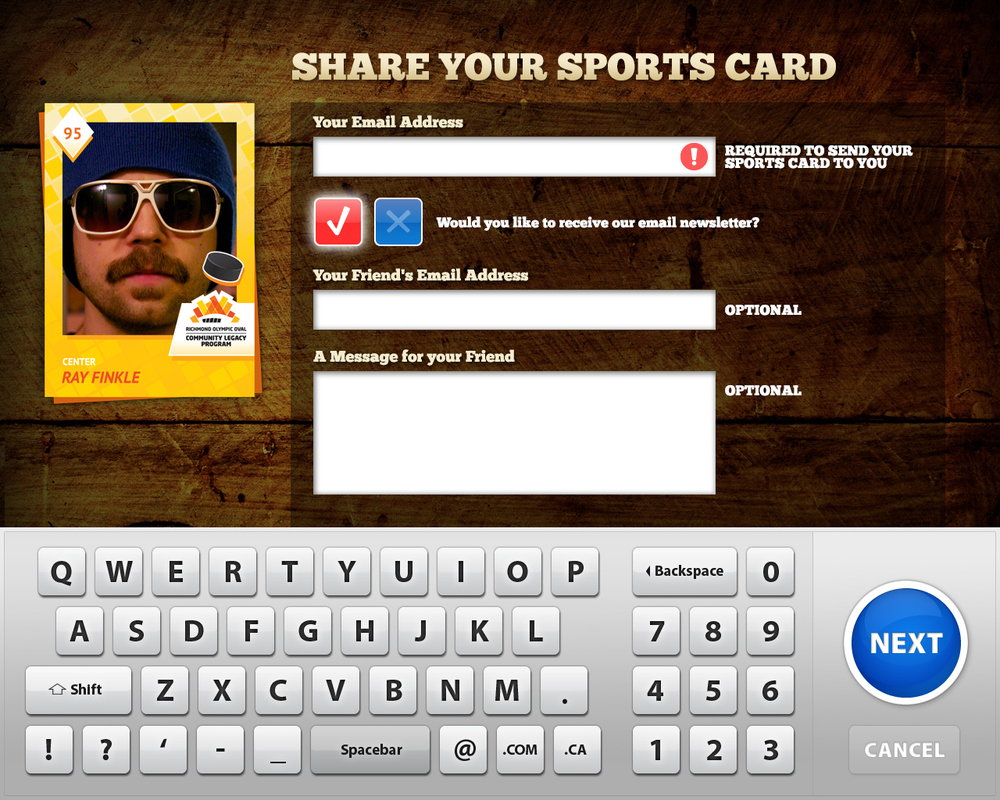 An email address is required to receive the sports card, with an option to share with a friend.