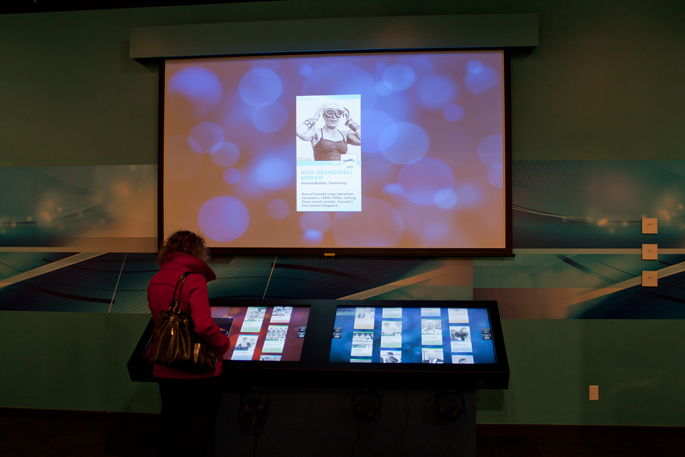Content syncs from each touchscreen to the projector, showing which inductee the visitor is currently viewing.
