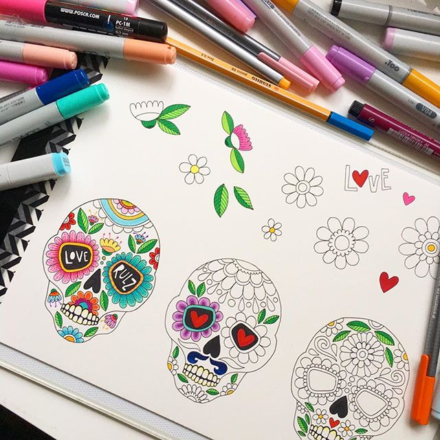 Desk situation- have been wanting to make up some sticker packs but needed some new illustrations to trial it - candy skulls are so fun! Owls will be next if these work out 🤗 . . . #copicmarkers #markerart #candyskulls #sugarskull #dayofthedead #skullart #skull #cute #love #loveskulls #helloangelcreative #workinprogress #illustration #stickers