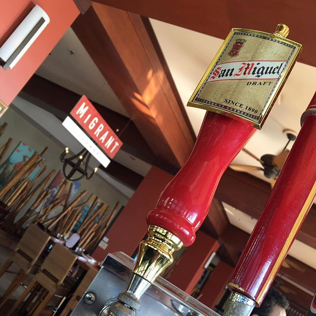 We've got San Miguel on tap!  Be Happy hour starts at 4pm!  #behappy #sanmiguel