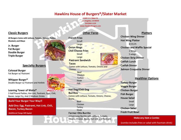 menu hawkins house of burgers we make eating a joy